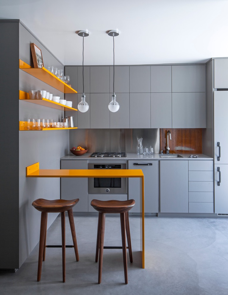 Small Contemporary Single Wall Kitchen For Apartment (View 23 of 30)
