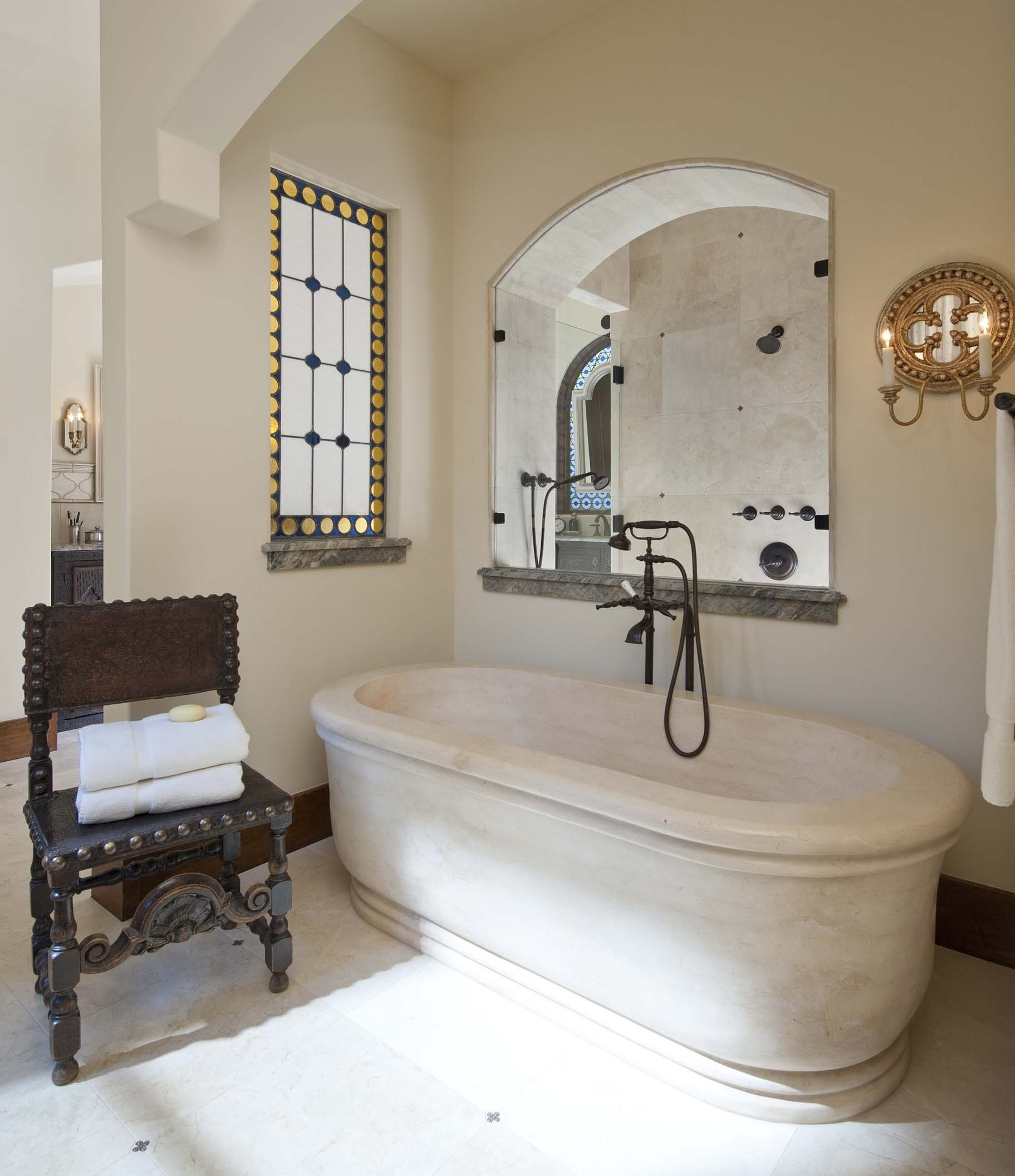 Spanish Retro Style Bathroom With Stone Bathtub (Image 18 of 20)