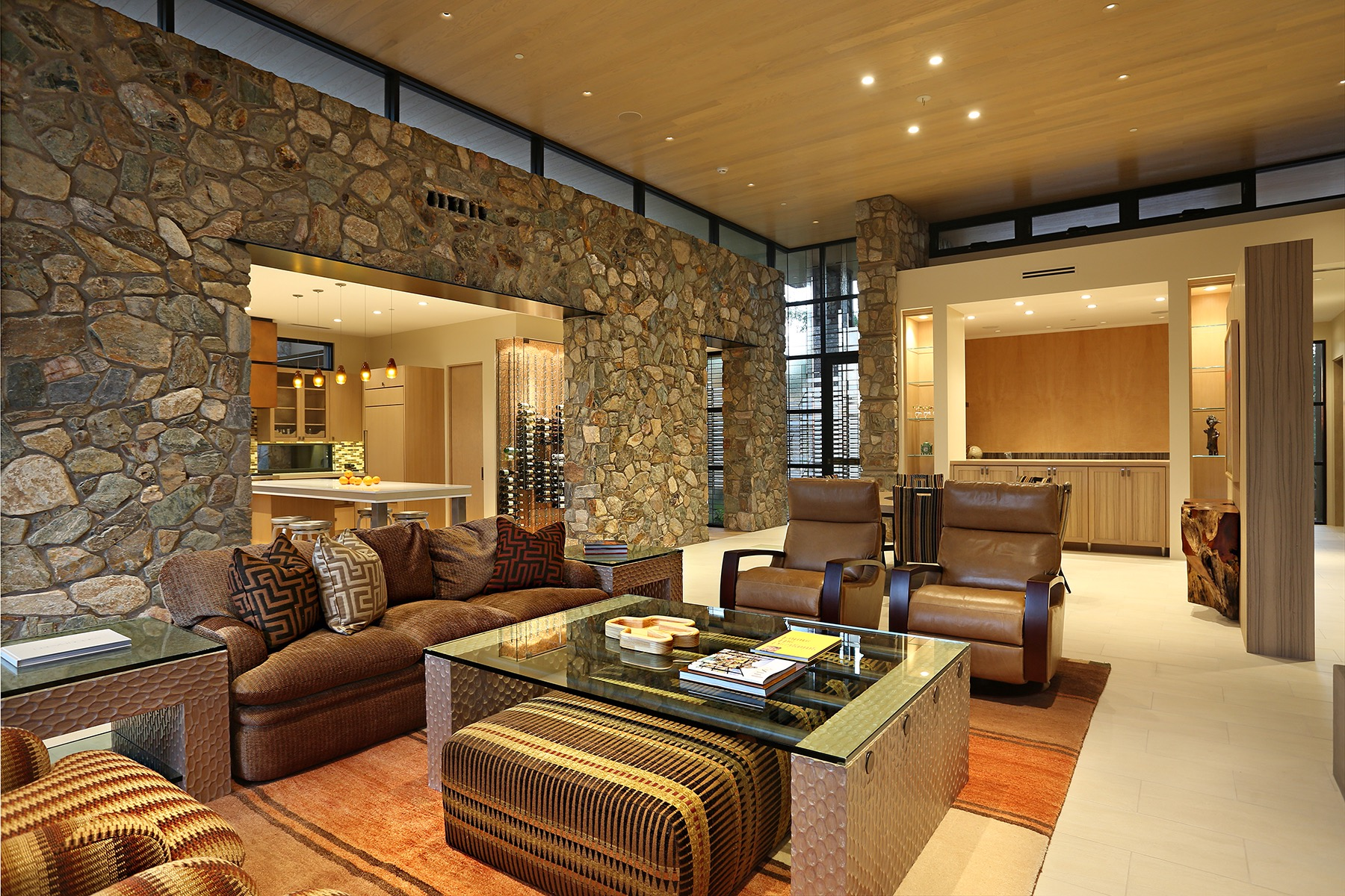 Stone Accent Wall Decor For Modern Southwestern Living Room (Image 25 of 30)