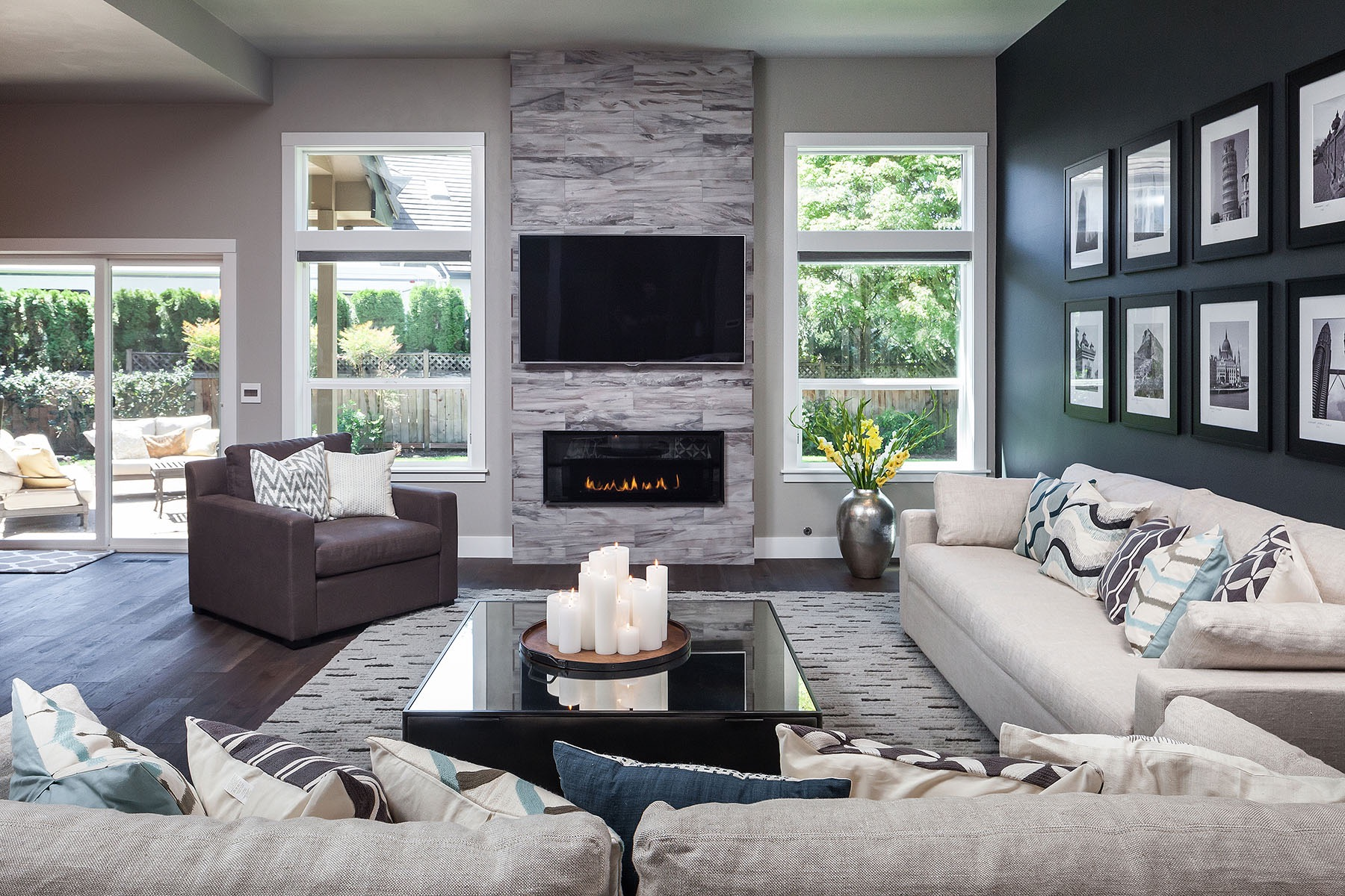 Stone Fireplace For Contemporary Living Room (Image 29 of 31)