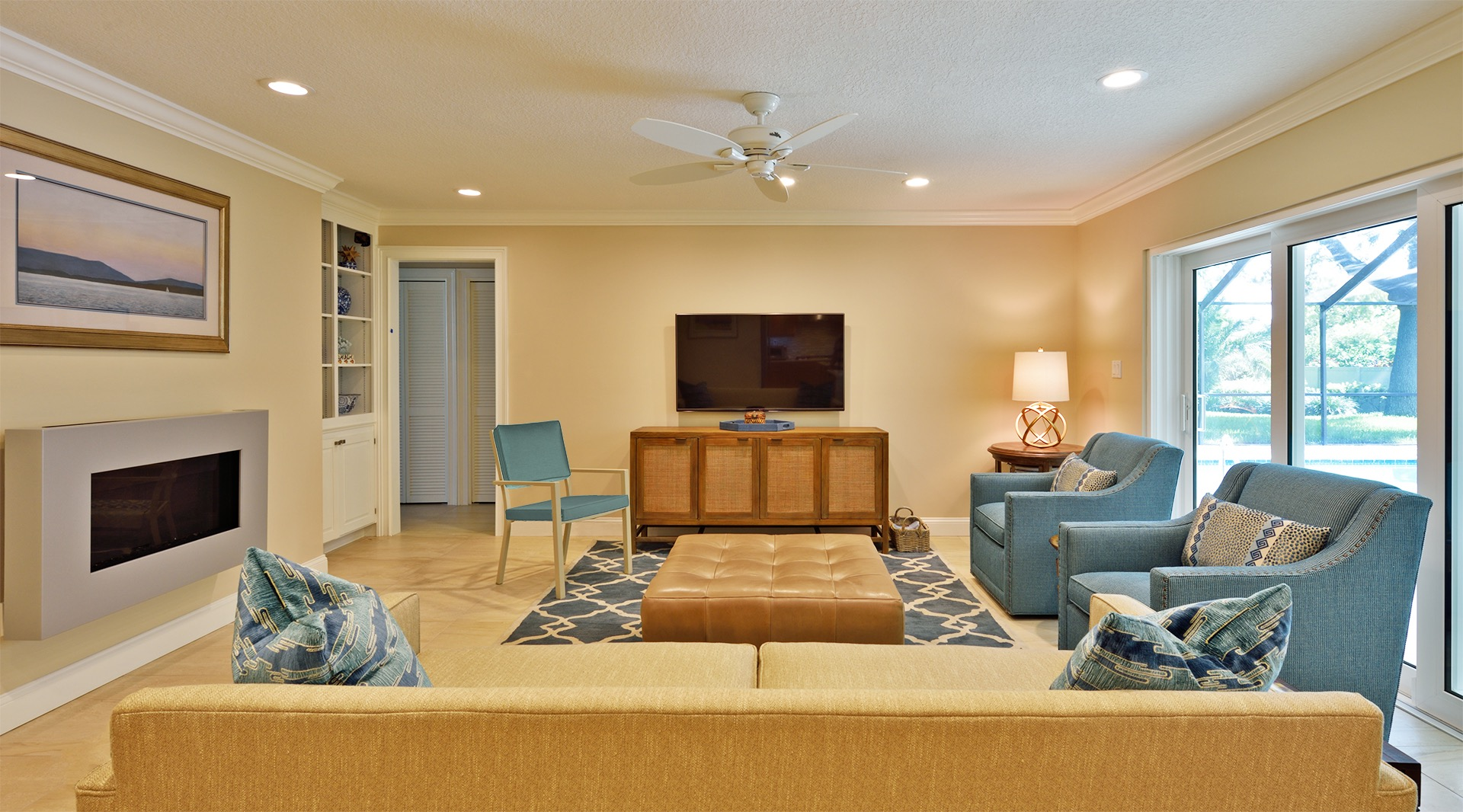 Traditional Modern Living Room With Yellow And Blue Color Scheme (Image 19 of 20)