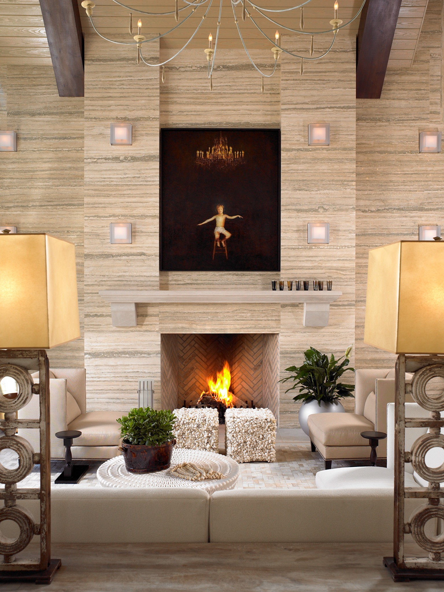 Travertine Accent Wall Decor For Contemporary Living Room (Image 27 of 30)