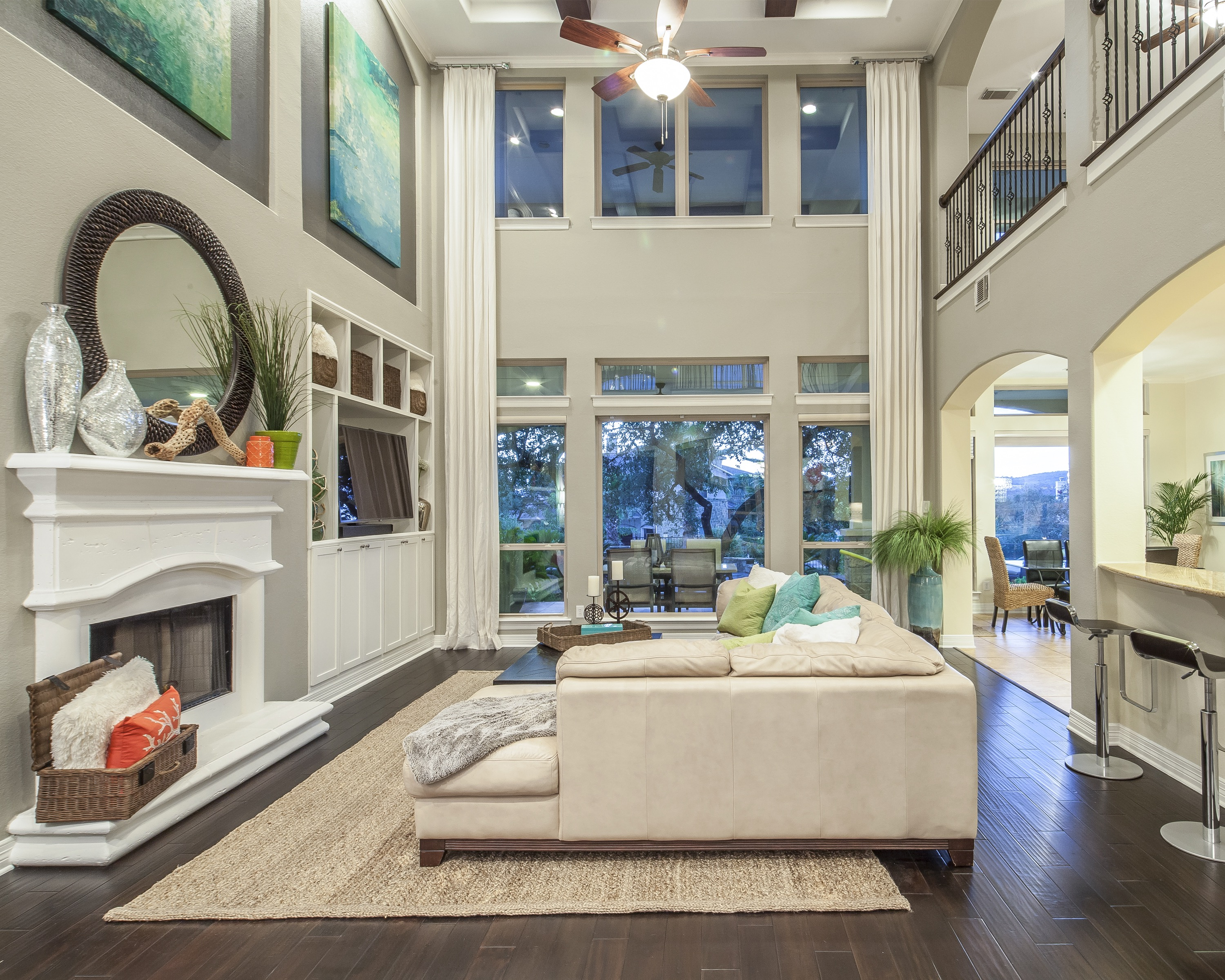 White Color Scheme For Coastal Living Room With High Ceilings (Image 20 of 20)
