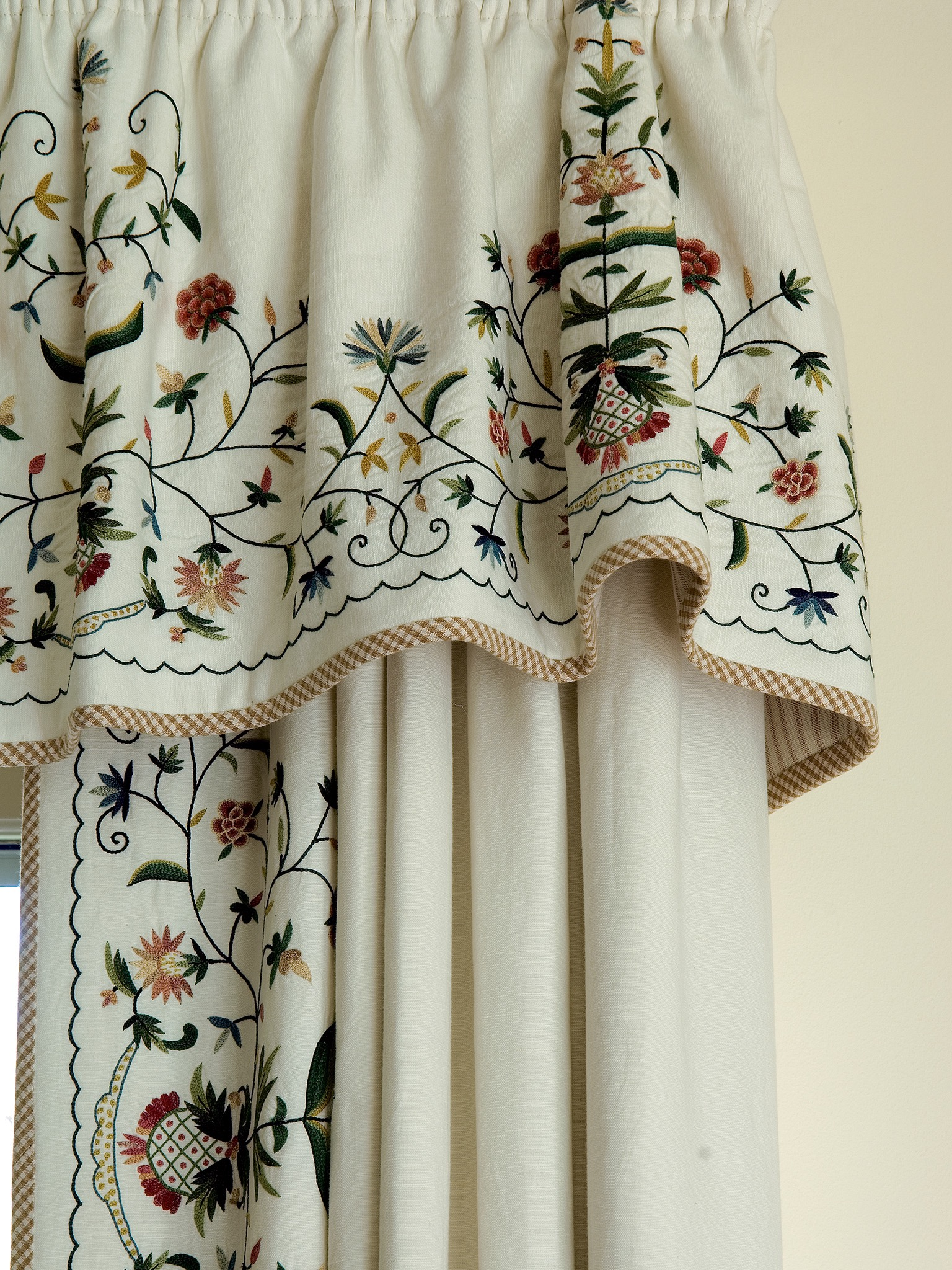White Curtains With Floral Embroidery Detail (Image 33 of 35)