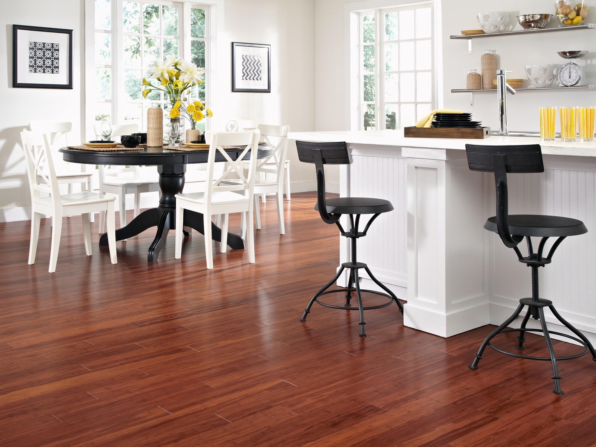 White Dining Area With Bamboo Flooring And Black Table (Image 20 of 20)