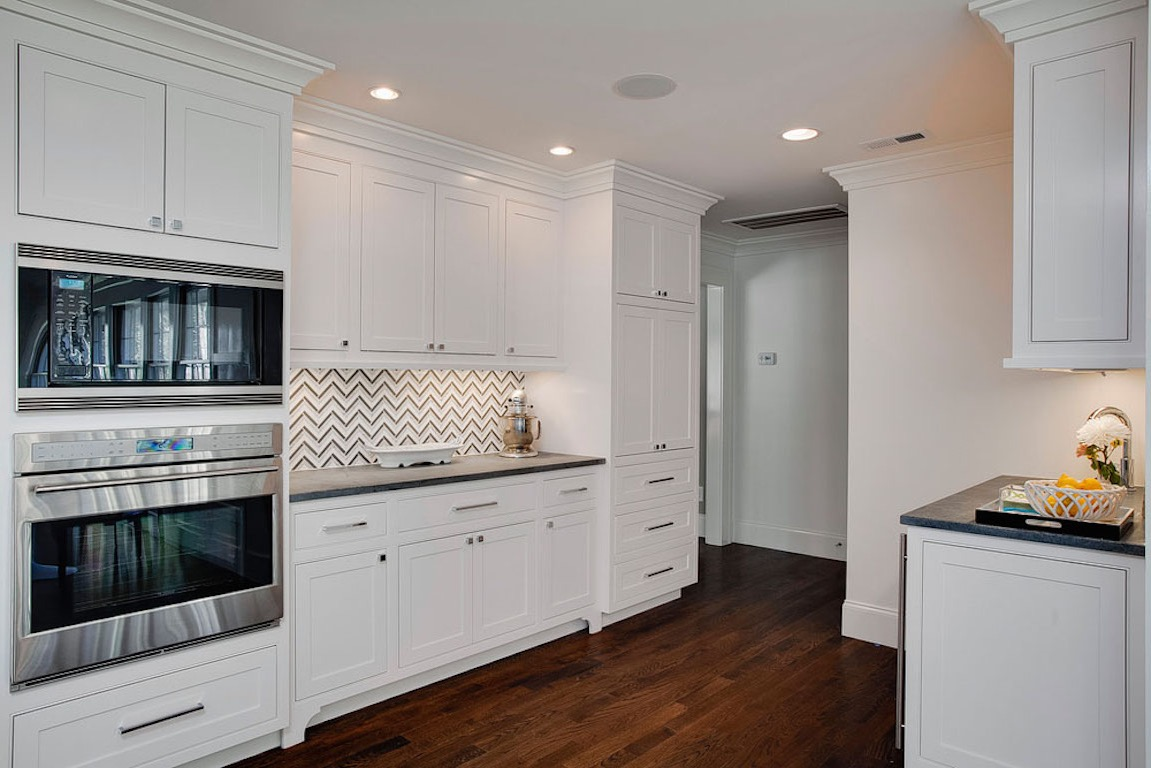 White Kitchen With Chevron Striped Backsplash (Image 31 of 32)