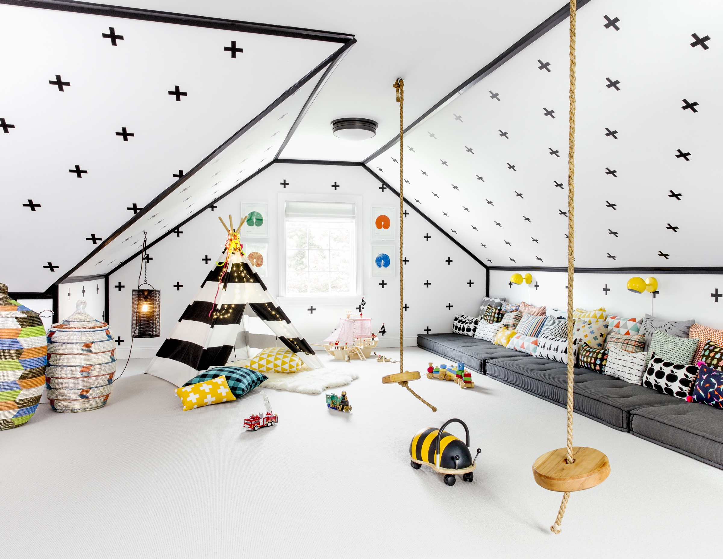 White Theme Playroom Features Teepee, Rope Swings And Floor Cushions (Image 29 of 30)