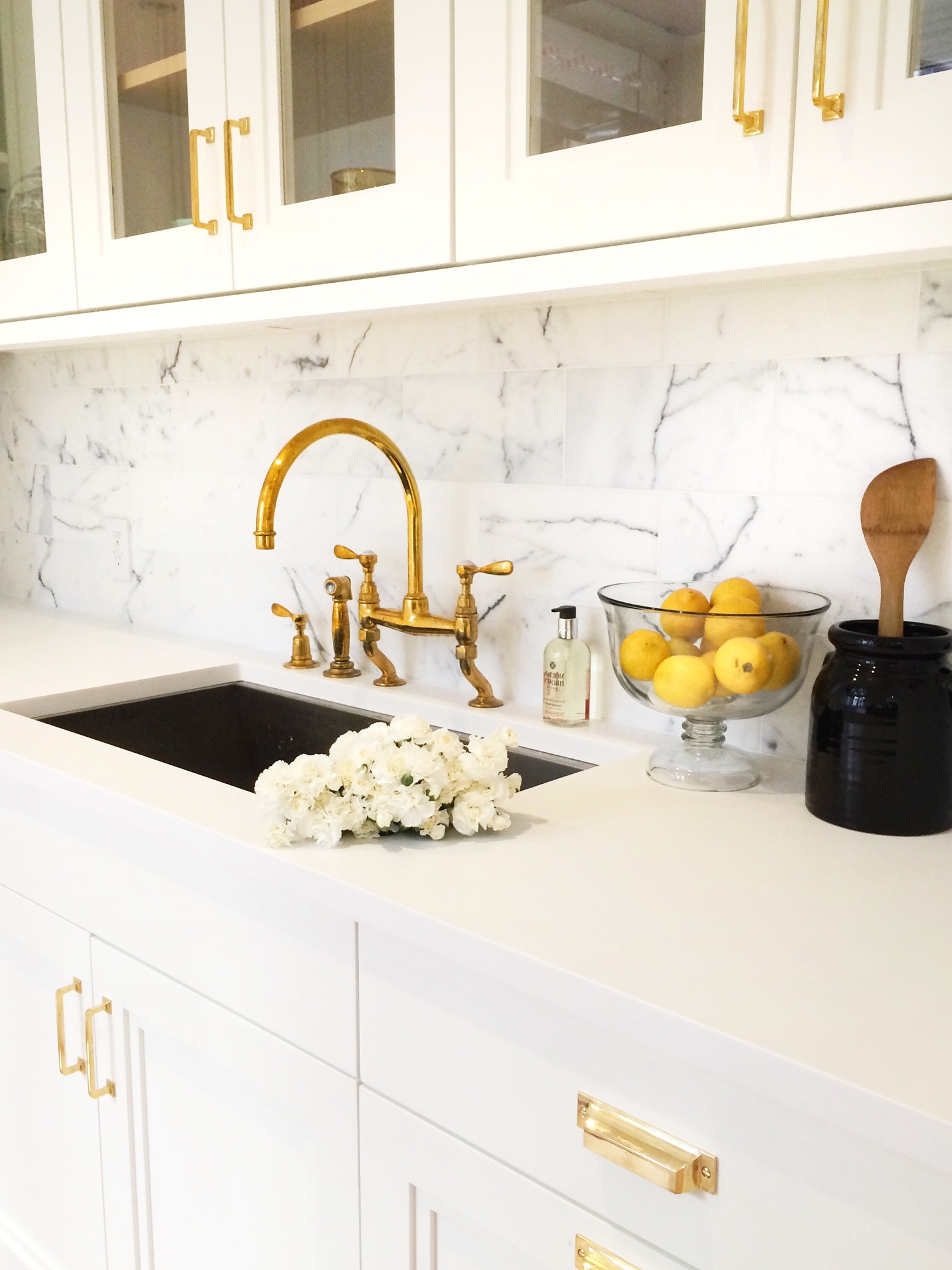 White Marble Backsplash For Kitchen Sink With Gold Faucet (Image 32 of 32)