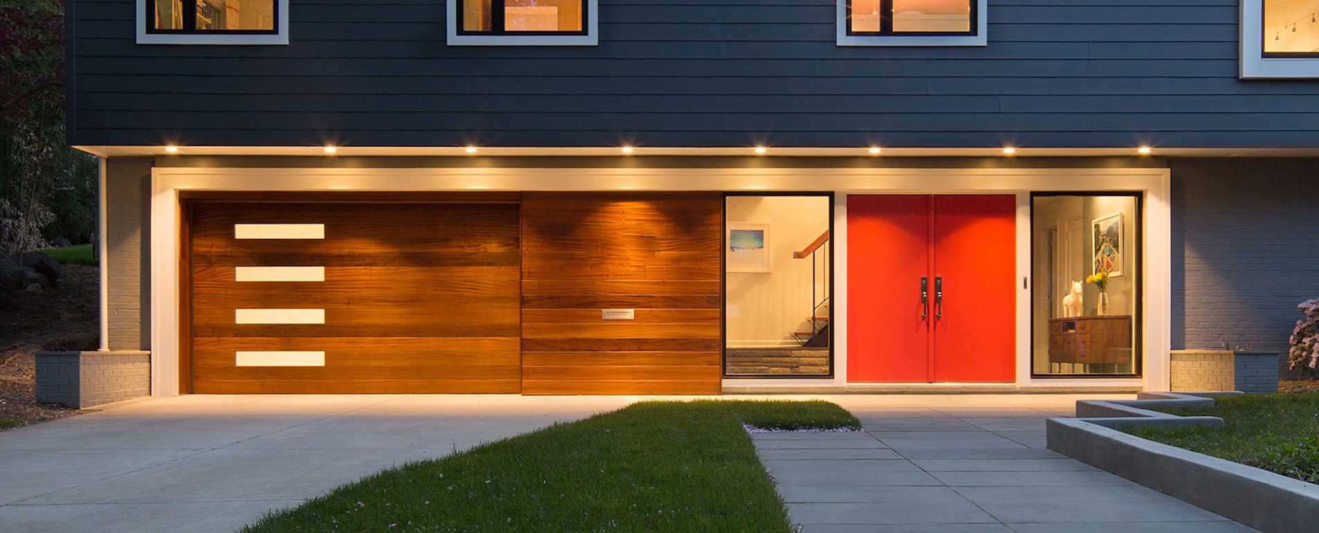 Wooden Single Car Garage Door In Contemporary Design (Image 38 of 38)