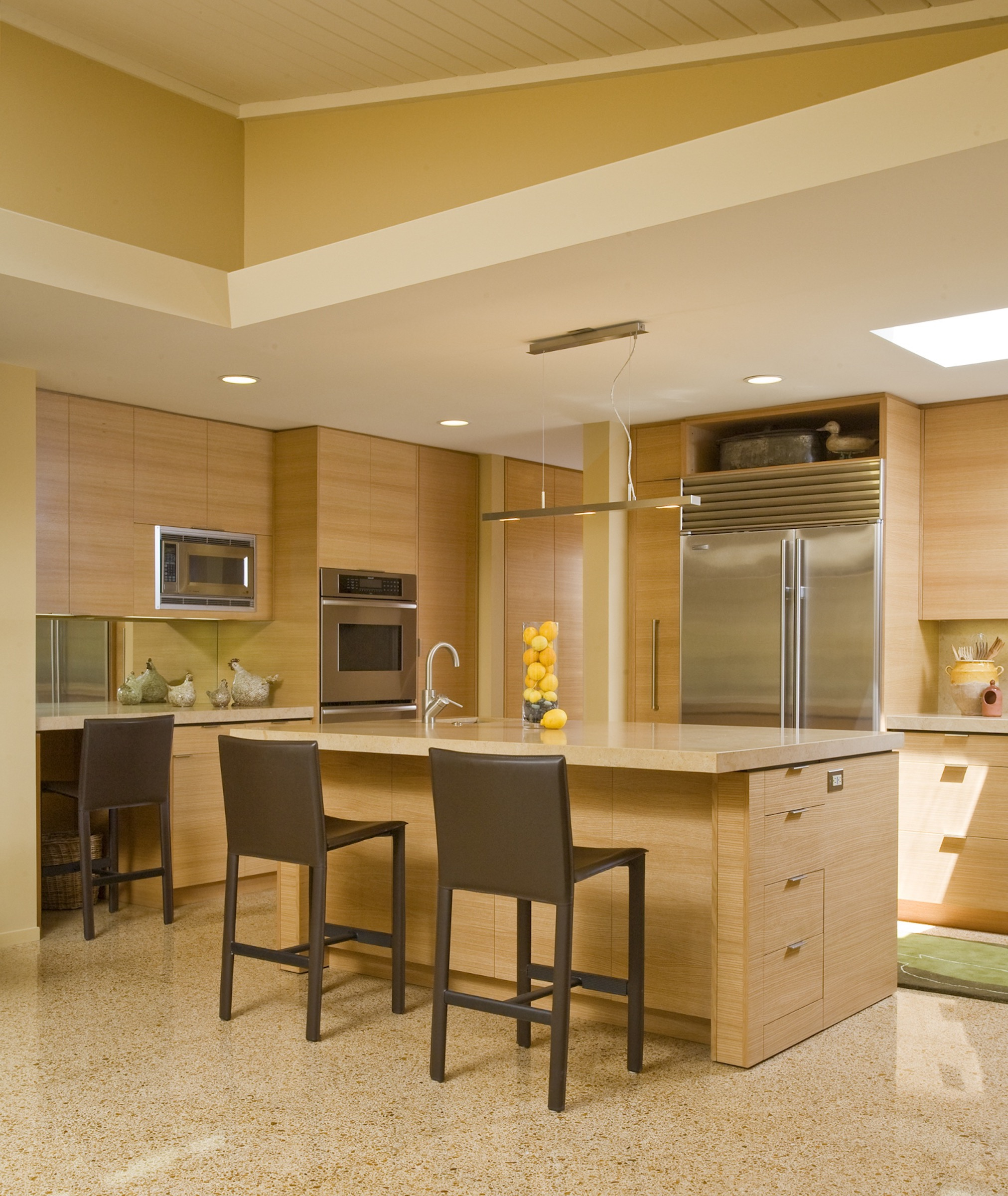 Yellow Custom Kitchen Cabinets In Contemporary Design (Image 17 of 18)