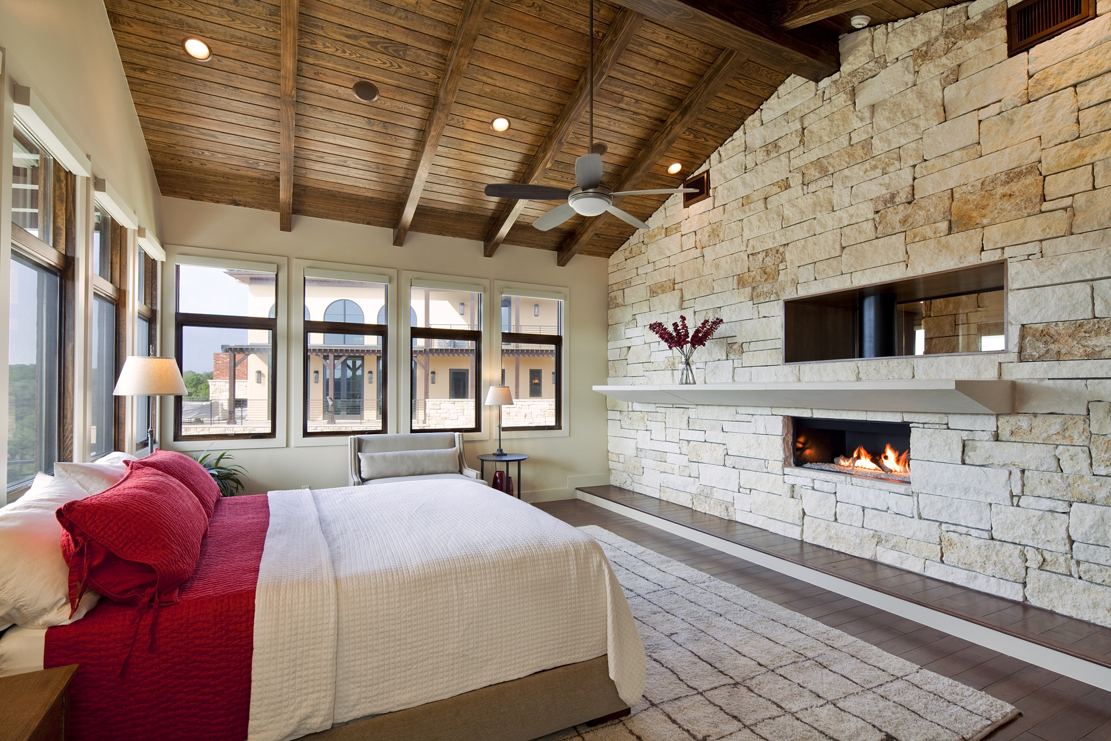 Angled Wood Ceiling For Modern Bedroom With Stone Wall (View 14 of 31)