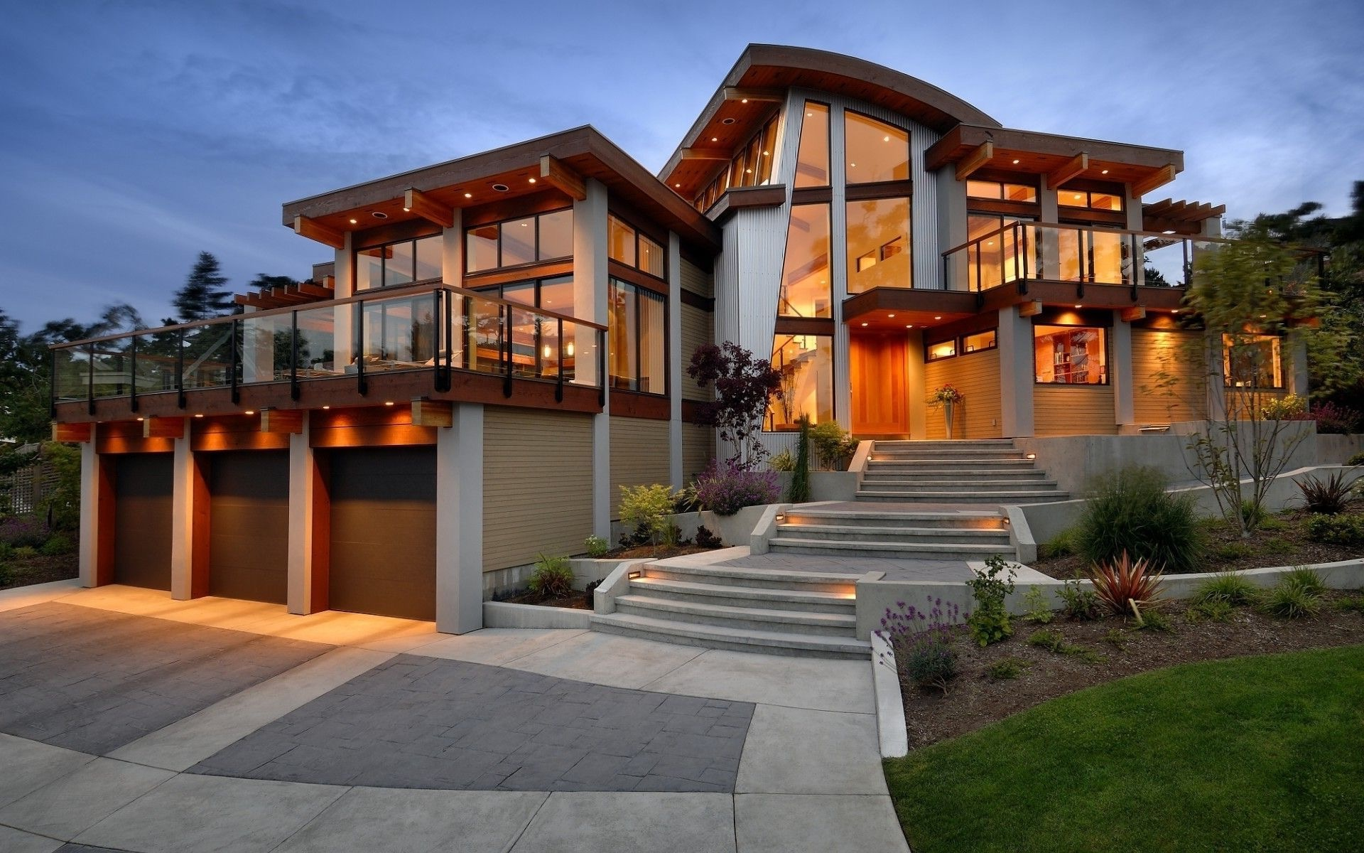 Architecture Luxury Modern House With Large Glass Windows (Image 1 of 27)