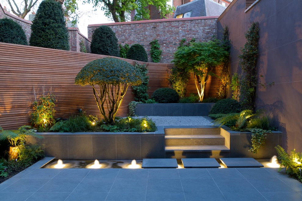 Asian Style Backyard Landscape With Fountain And Natural Stone Pavers (View 1 of 30)
