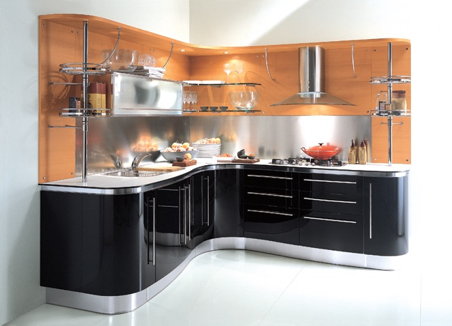 Best Contemporary Small Corner Kitchen Furniture And Cabinets Set (Image 2 of 24)