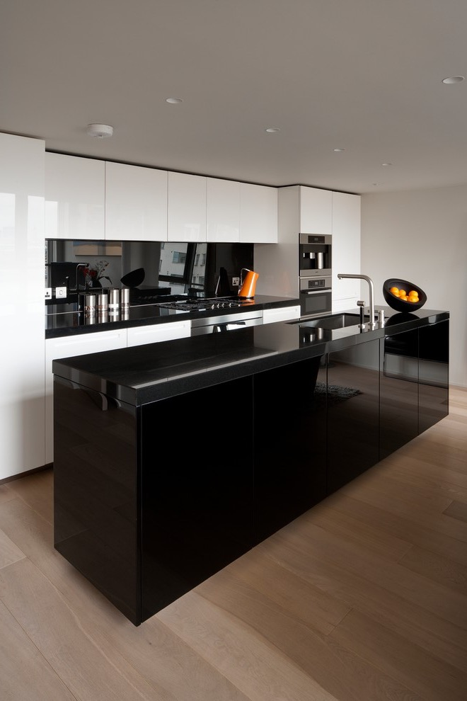 Black And White Contemporary Apartment Kitchen Interior (Image 2 of 30)