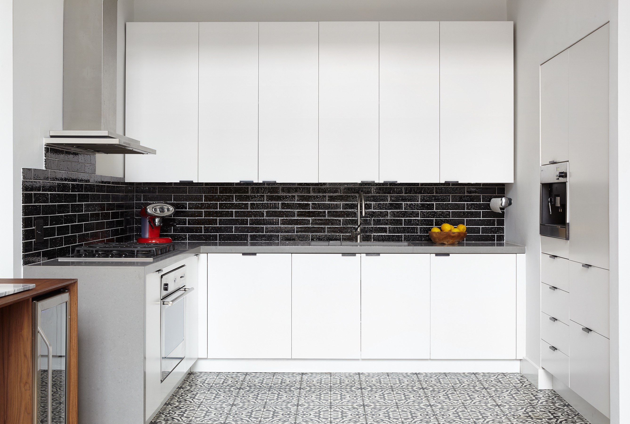 Black Tile Backsplash And Patterned Gray And White (Image 2 of 32)