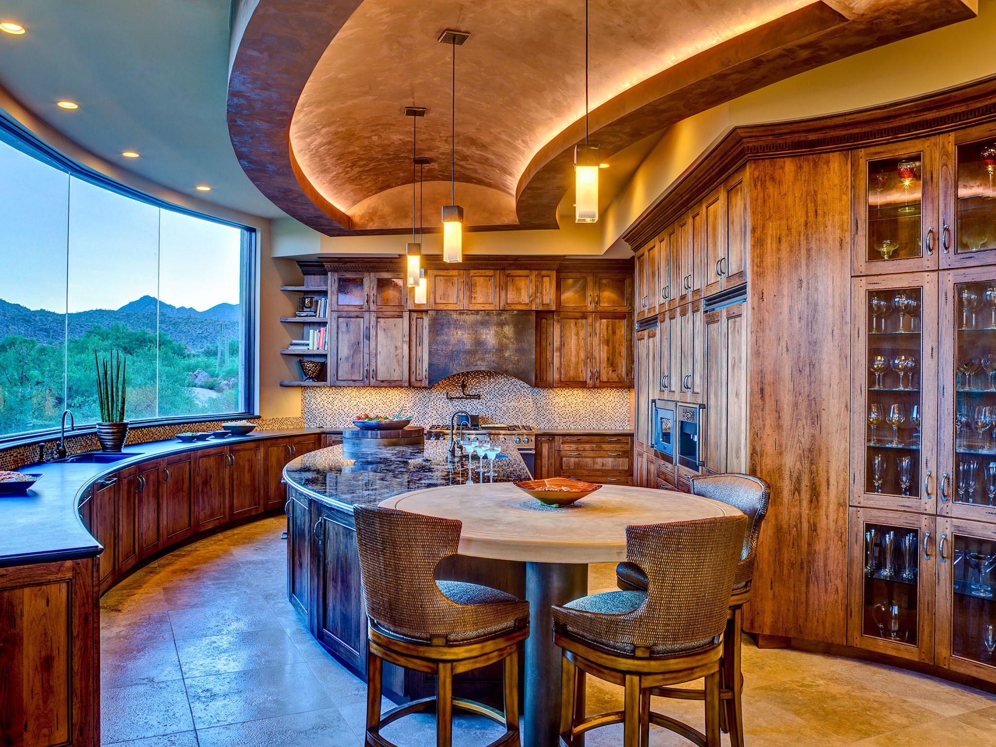 Classic Southwestern Dining Area And Kitchen Curved Island (View 4 of 11)