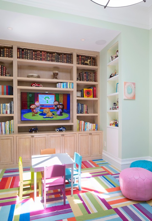 Contemporary Kids Playroom With Small Table And Chairs (Image 10 of 30)