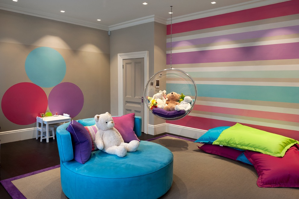 Contemporary Kids Playroom With With Multicolored Walls And Carpet (Image 11 of 30)