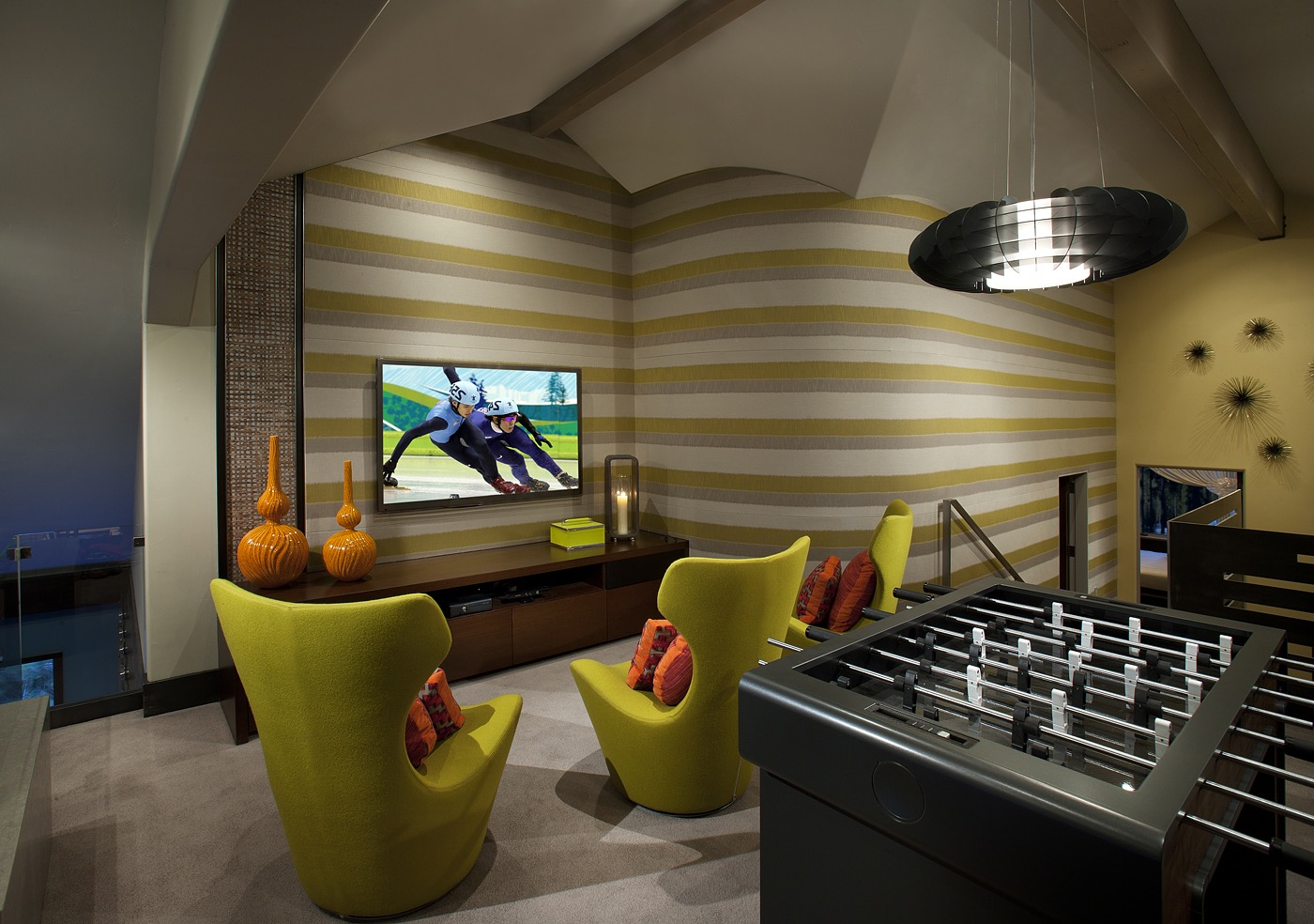 Contemporary Multimedia And Game Room (Image 4 of 15)