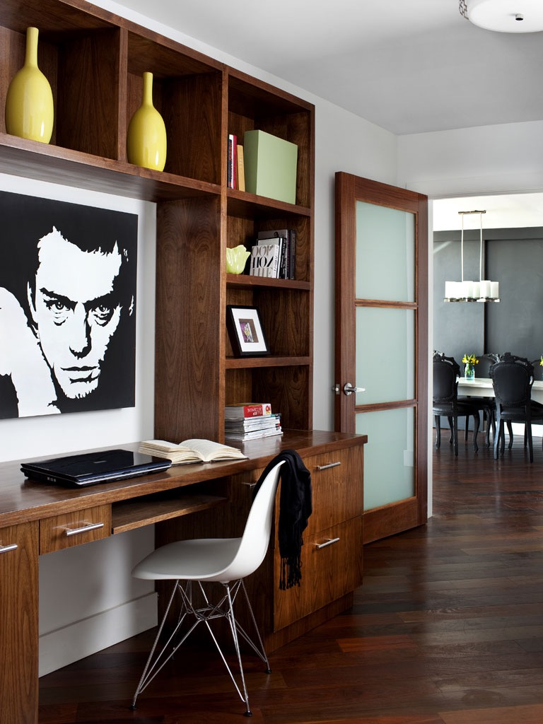 Contemporary Sleek Home Office For Apartment With Built In Wooden Cabinets And Desk (View 10 of 50)