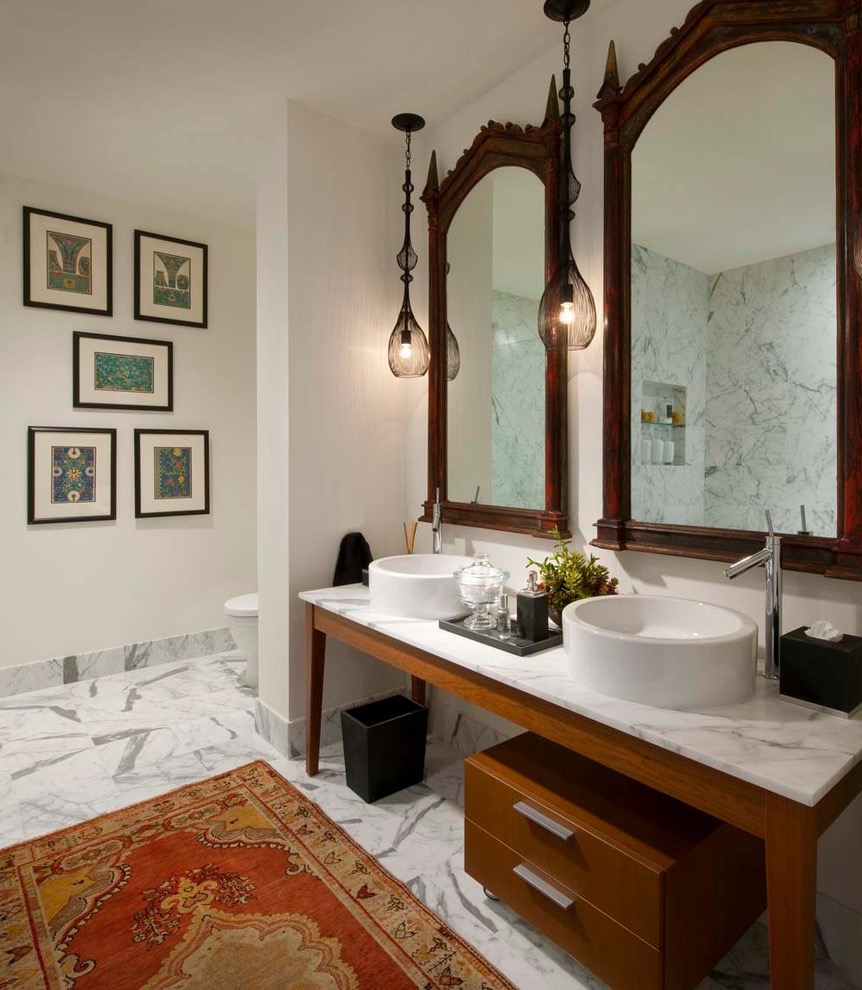 Eclectic Ethnic Style Bathroom Decor With Persian Rug (View 2 of 15)