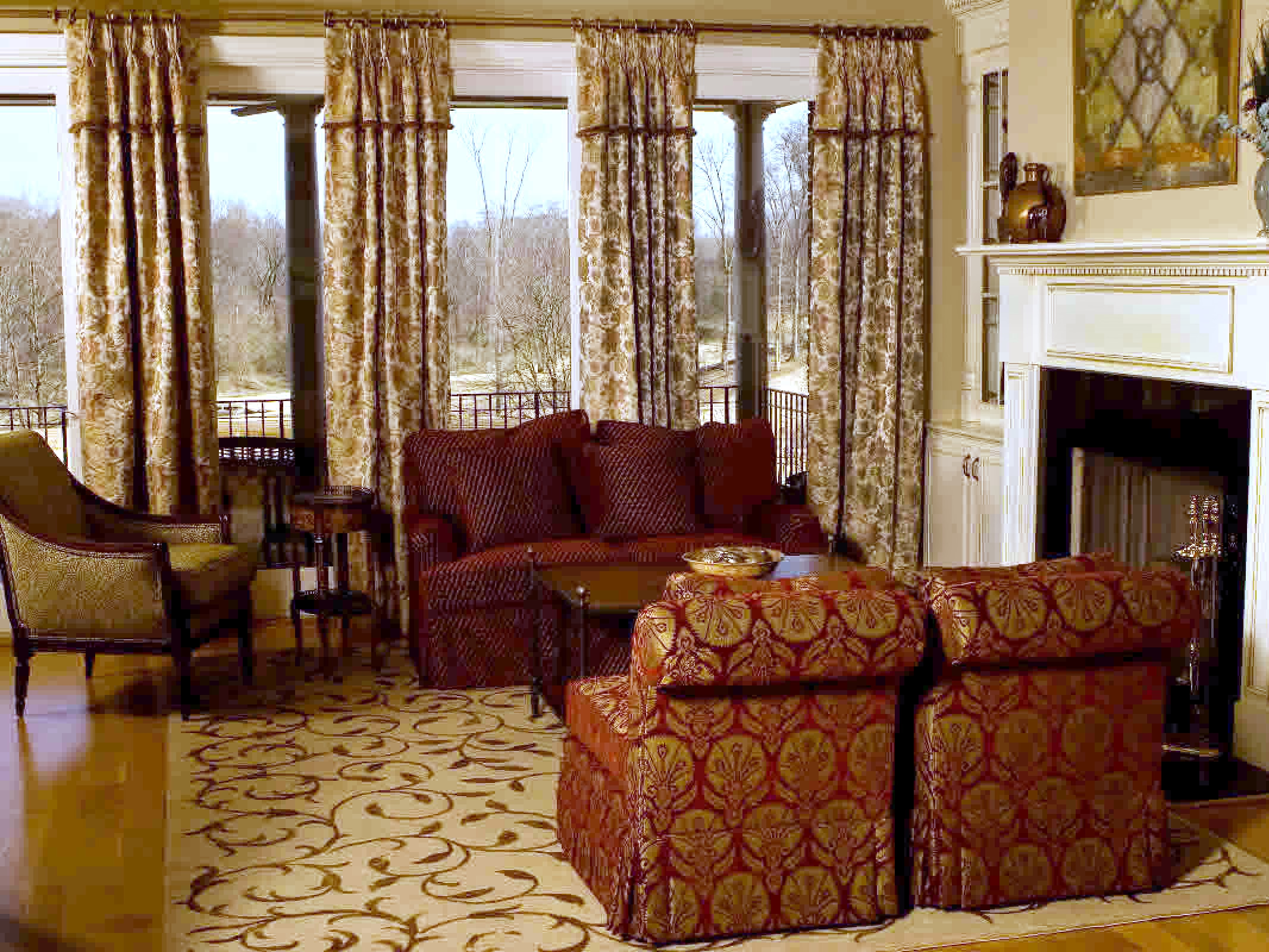 Floral Drapery, Sofa, Pair Of Upholstered Chairs And Area Rug For Country Style Living Room Decor (Image 9 of 25)