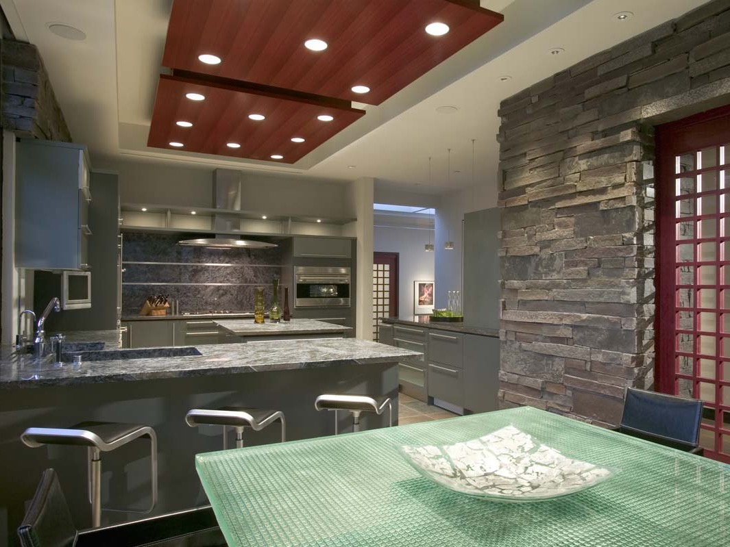 Glass Fiber And Wood Ceiling Panel With Recessed Lights Illuminated For Kitchen (View 27 of 31)