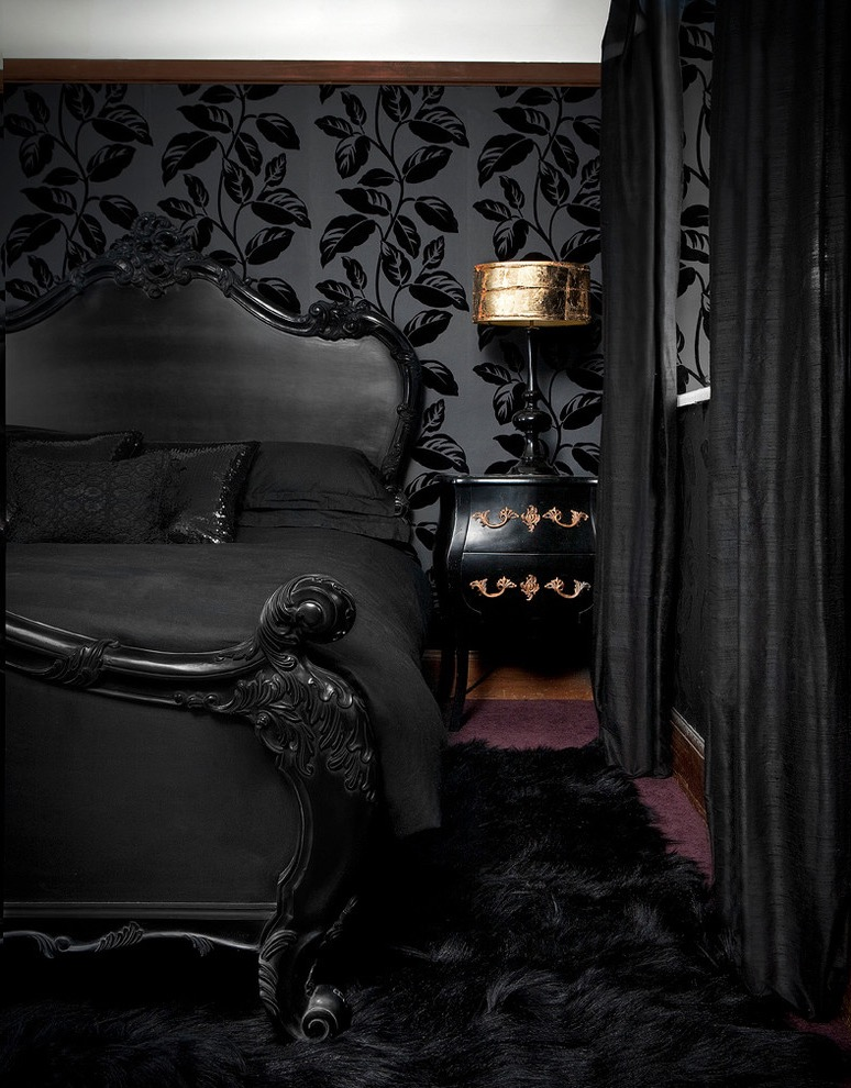 Gothic Victorian Bedroom Design In Black Color (View 3 of 30)