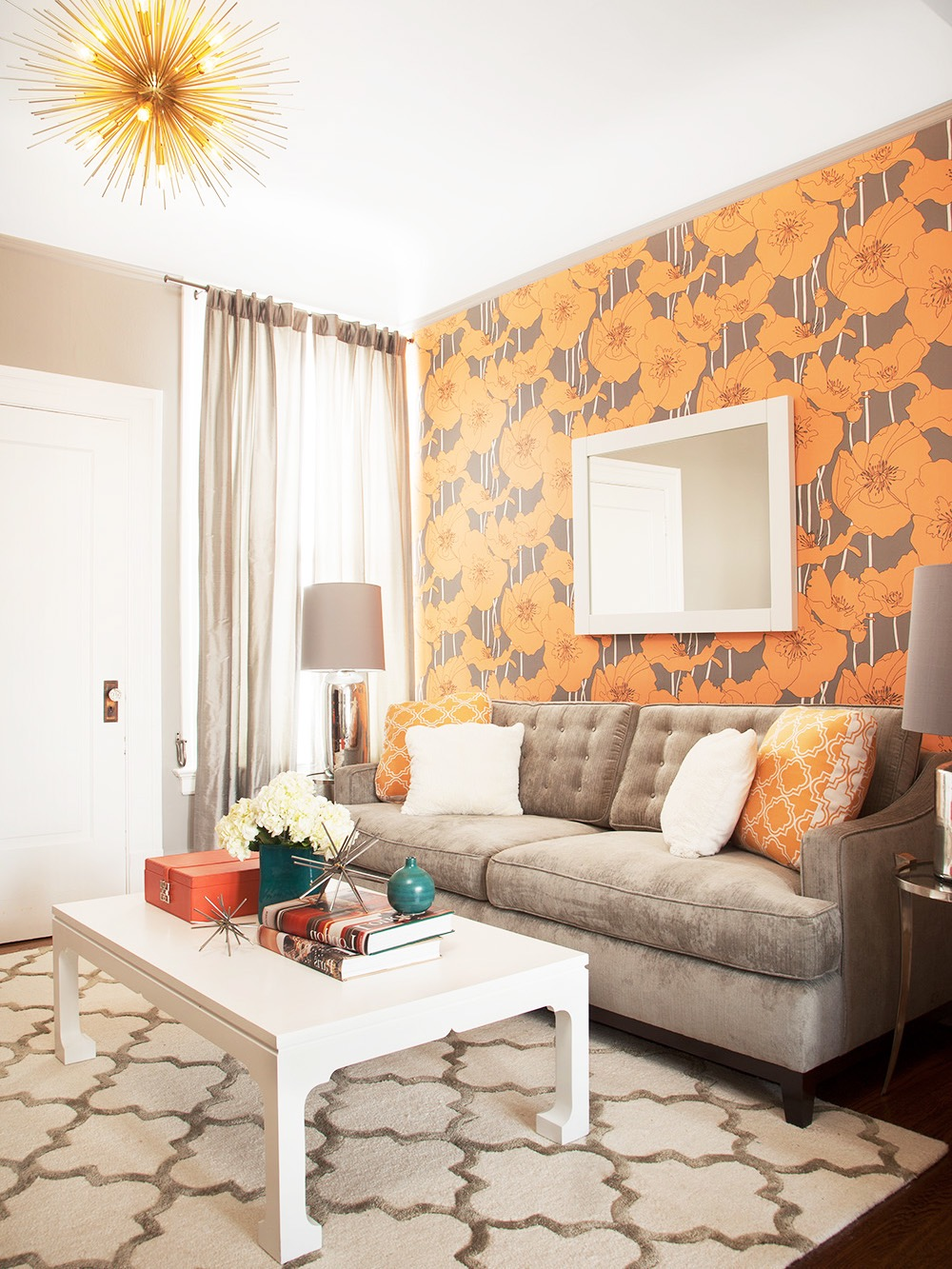 Graphic Wallpaper Orange And Gray Color Scheme For Small Living Room (Image 9 of 20)