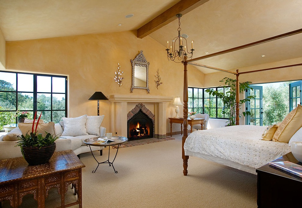 Indian Bedroom Interior With Fireplace (View 7 of 30)