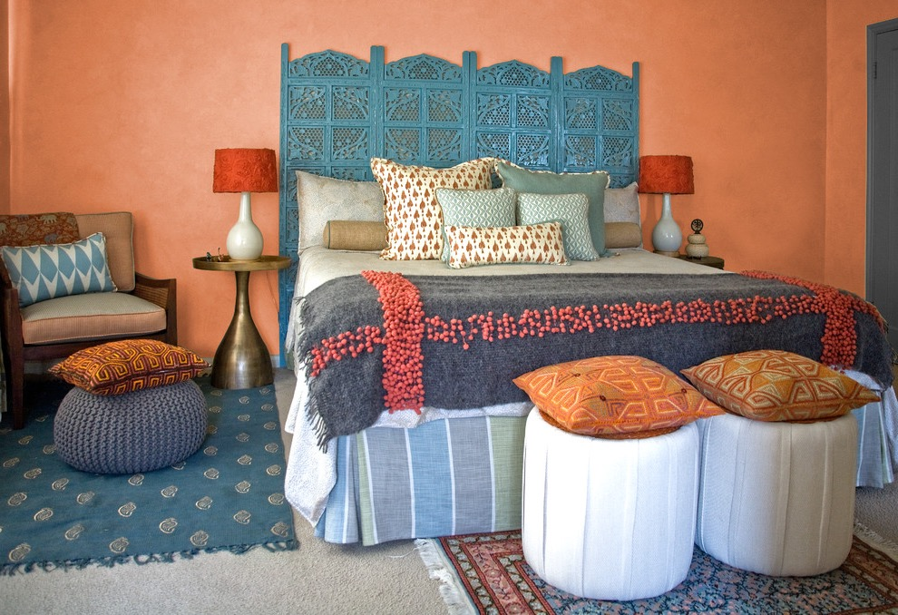 Indian Bedroom With Colorful Fabric Decor (View 13 of 30)