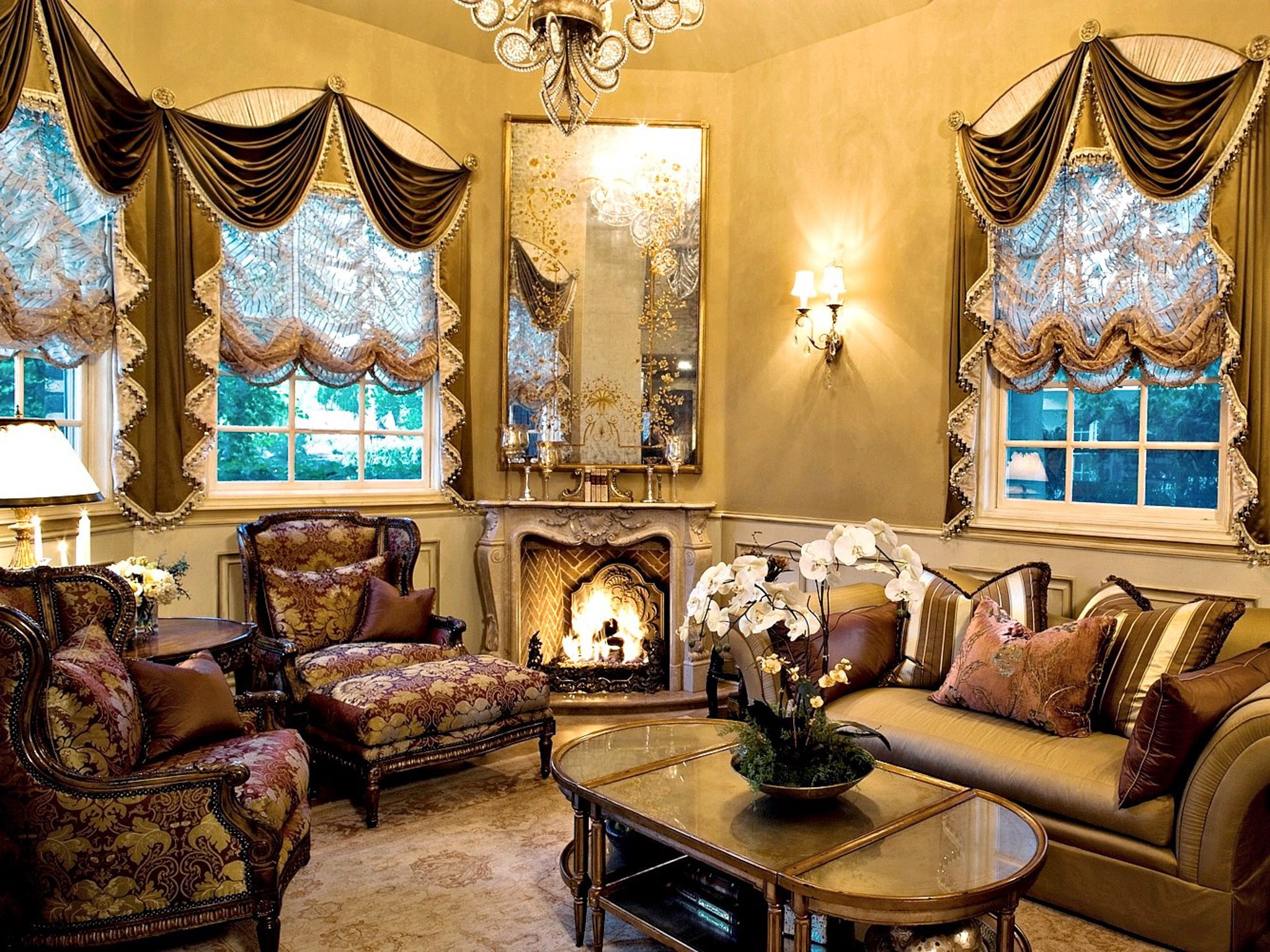 Italian Inspired Living Room Decor With Gold Love Seat And Burgundy Damask Wingback Chairs Surround An Oval Coffee Table (View 11 of 20)