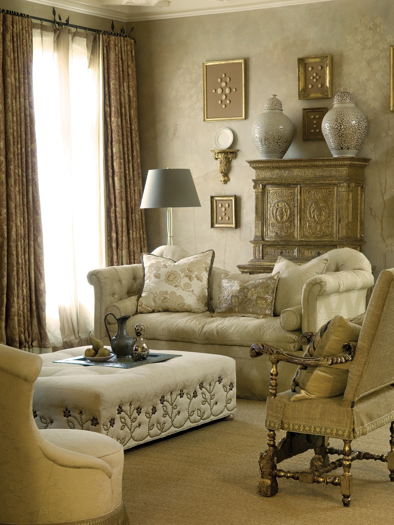 Ivory Sofa, Tufted Ottoman And Gold Armchair For Elegance Living Room Decor (Image 12 of 25)