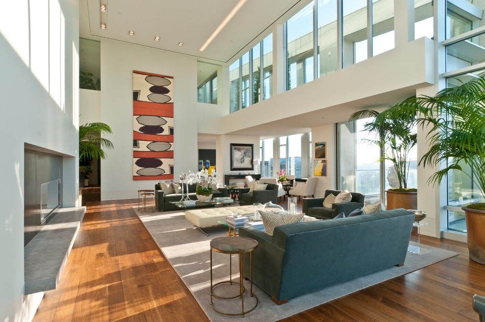 Large Luxury Living Room With High Ceiling And Glass Windows (Image 12 of 32)
