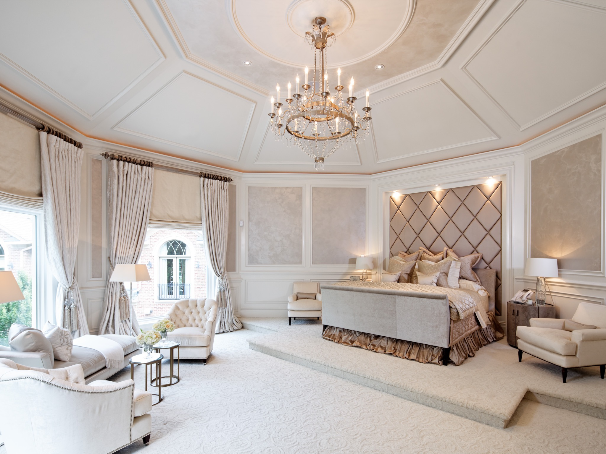 Luxury Indian Bedroom Design With With Elaborate Tray Ceiling (View 16 of 30)