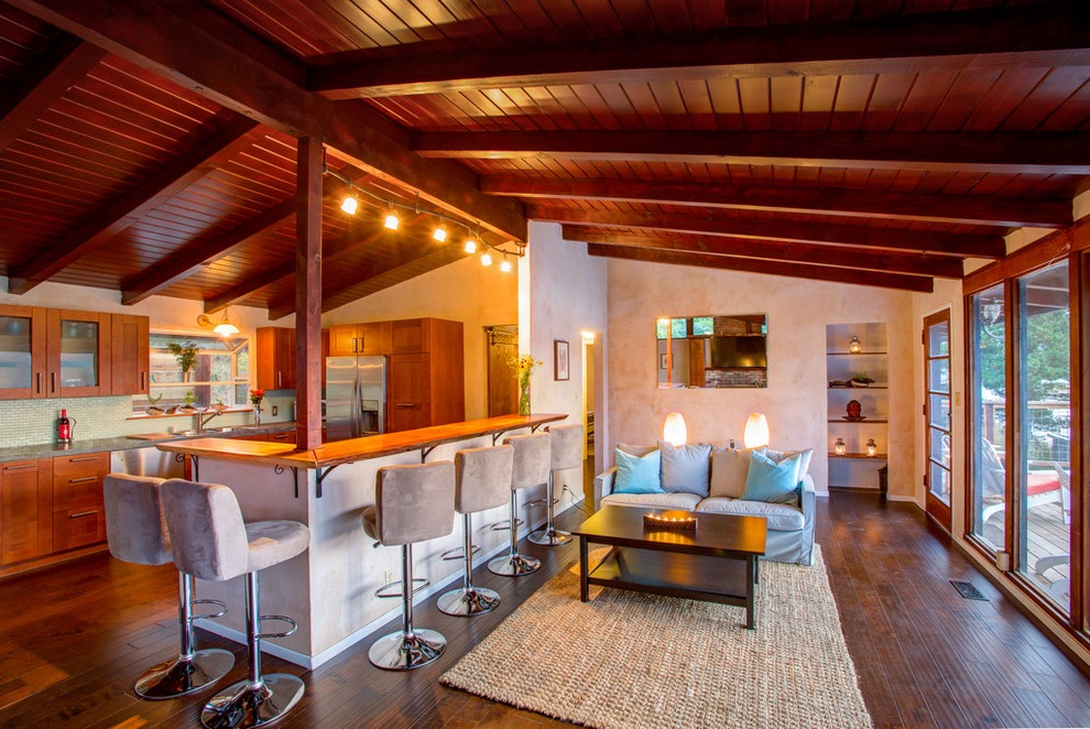 Midcentury Living Room And Kitchen Interior Combo With Wood Ceiling (View 10 of 20)