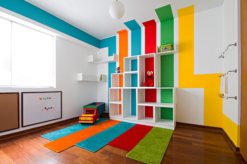 Minimalist Contemporary Kids Playroom With Shelves And Rugs (Image 17 of 30)