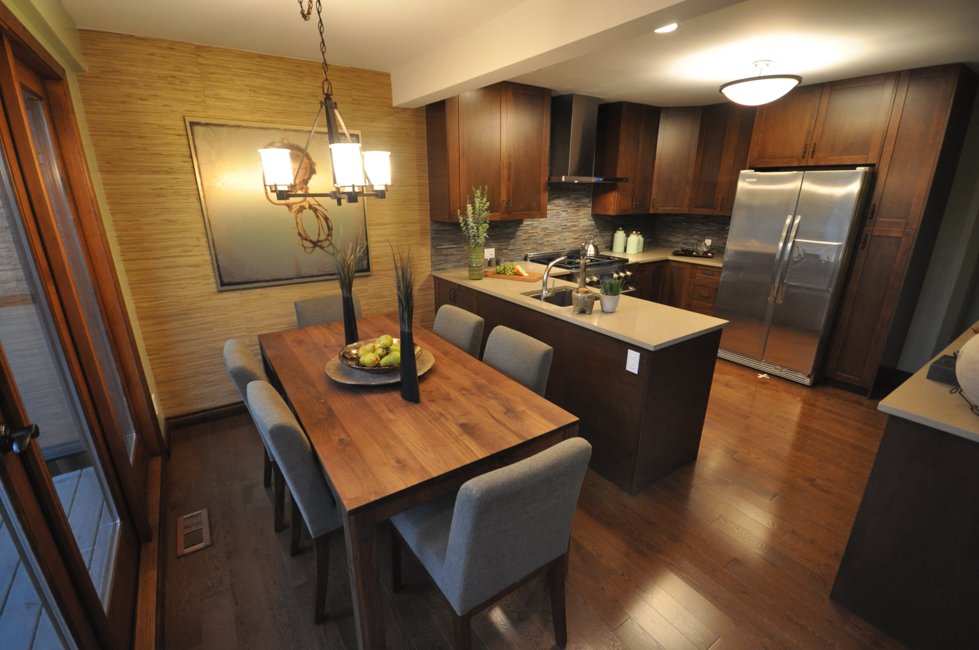 Minimalist Modern Open Kitchen And Dining Room Combo With Warm Wood Accents (View 14 of 20)