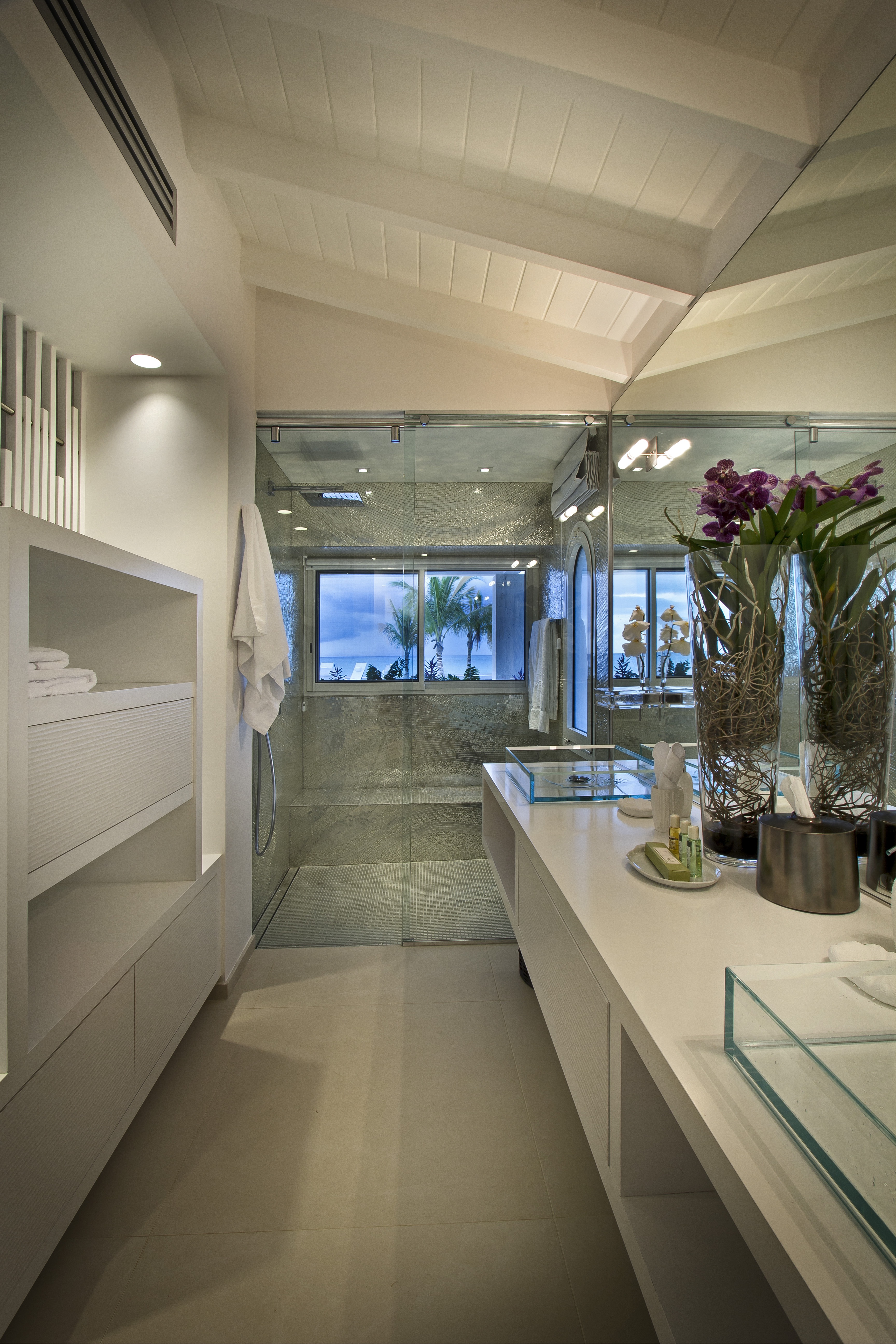 Modern Angled Ceiling For Contemporary Bathroom (View 1 of 31)