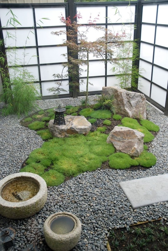 Modern Japanese Zen Garden With With Fountain And Gravel (View 5 of 10)