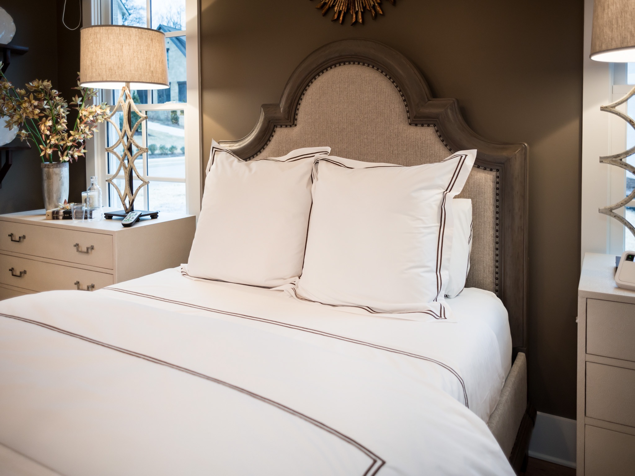 Modern Master Bedroom With Italian Satin Stitch Bedding (View 10 of 12)