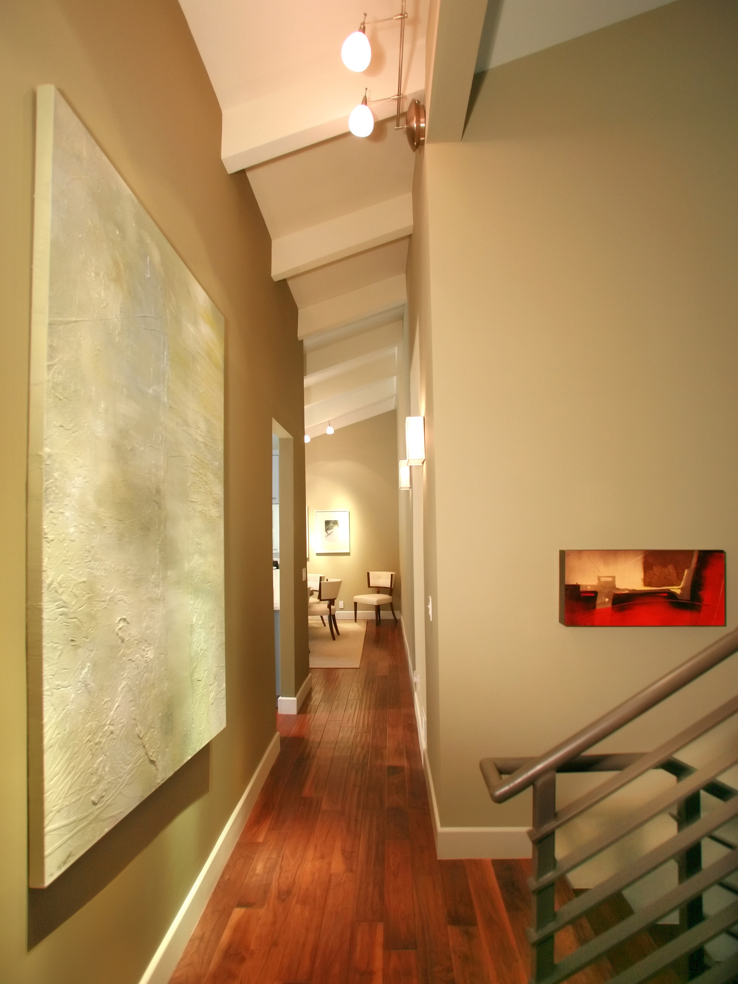 Modern Angled Beam Ceiling Hallway Design (View 10 of 31)