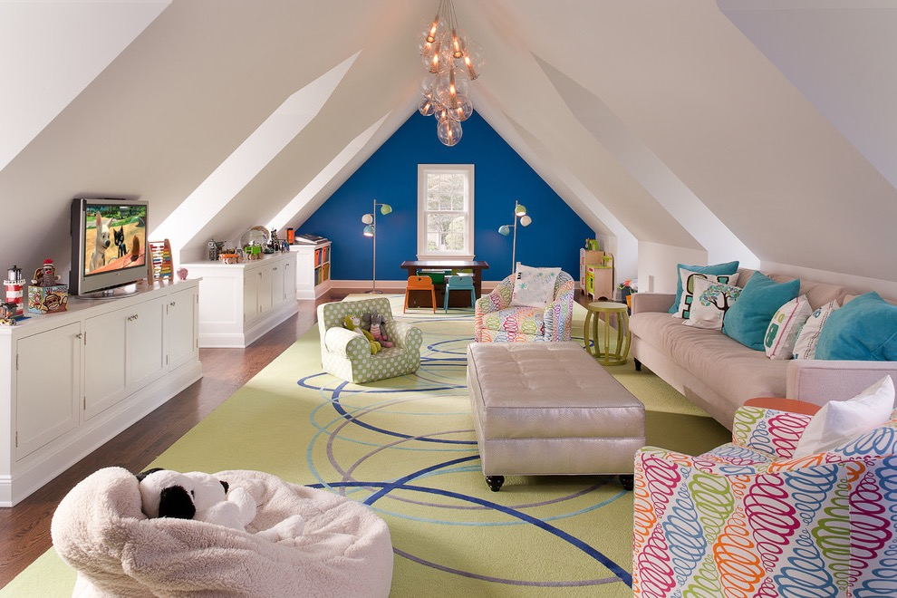 Modern Attic Playroom For Kids In Colorful Theme (Image 18 of 30)