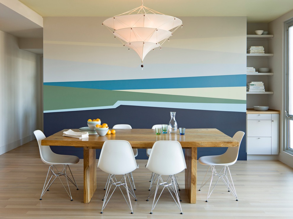 Modern Dining Room With Decorative Paint Colors On Feature Wall (Image 27 of 30)