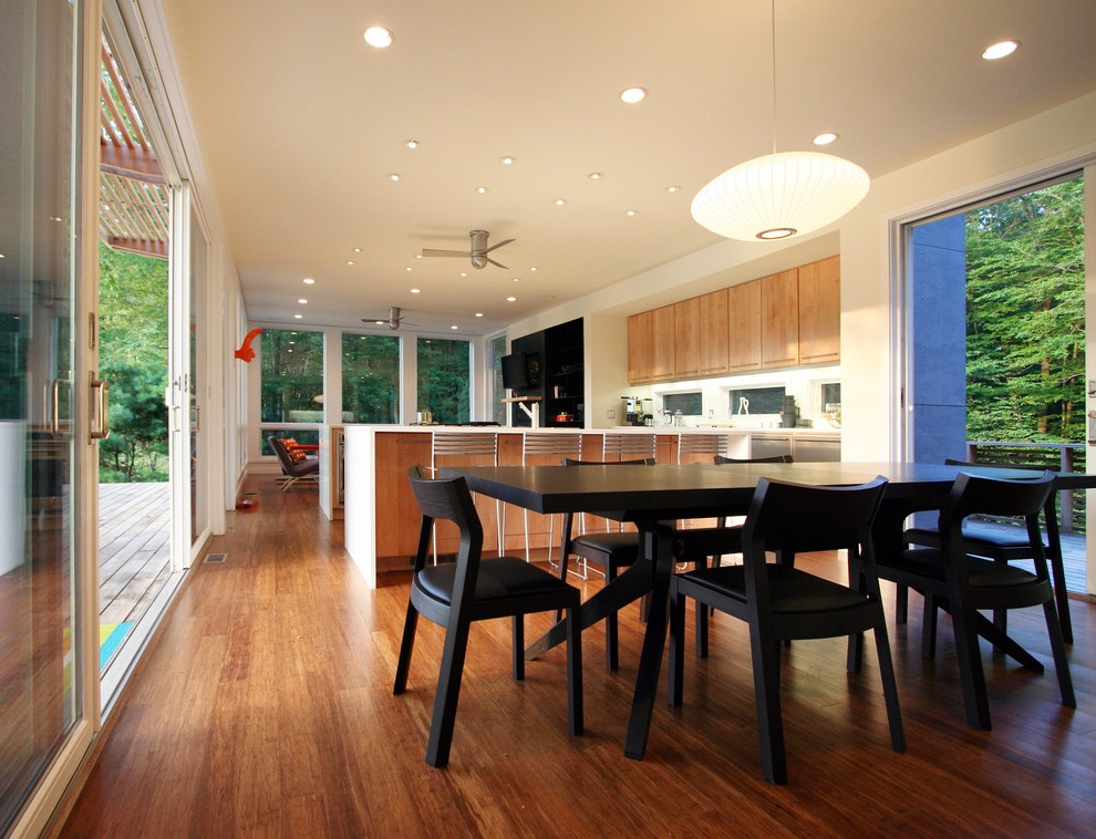 Modern Dining Room With Maple Cabinets And Bamboo Floors (Image 15 of 20)