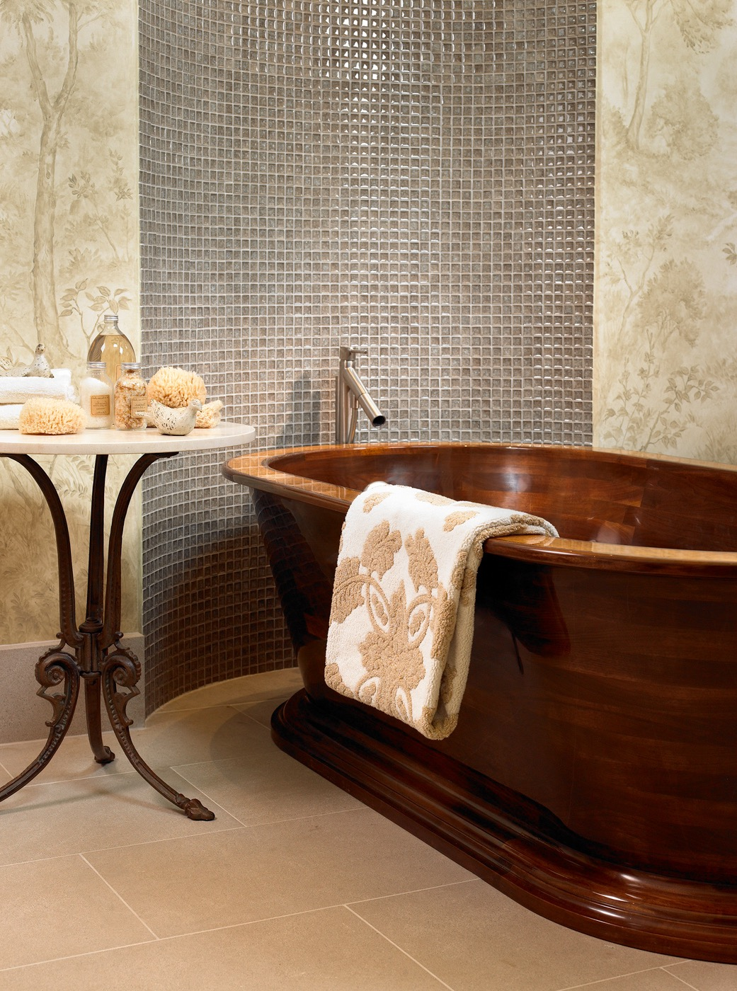 Modern Ethnic Style Bathroom With Bathroom With Wooden Soaking Tub And Tile Walls (View 15 of 15)