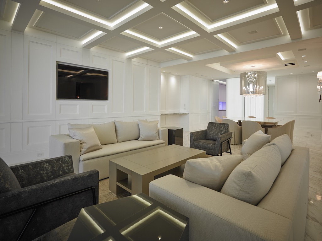 Modern Glass Fiber Coffered Ceiling With LED Lighting For Luxury Living Room (View 26 of 31)