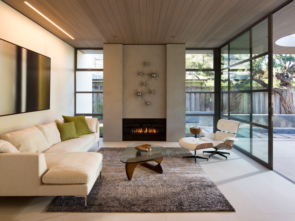 Modern Minimalist Living Room With Concrete Fireplace Surround (View 13 of 20)