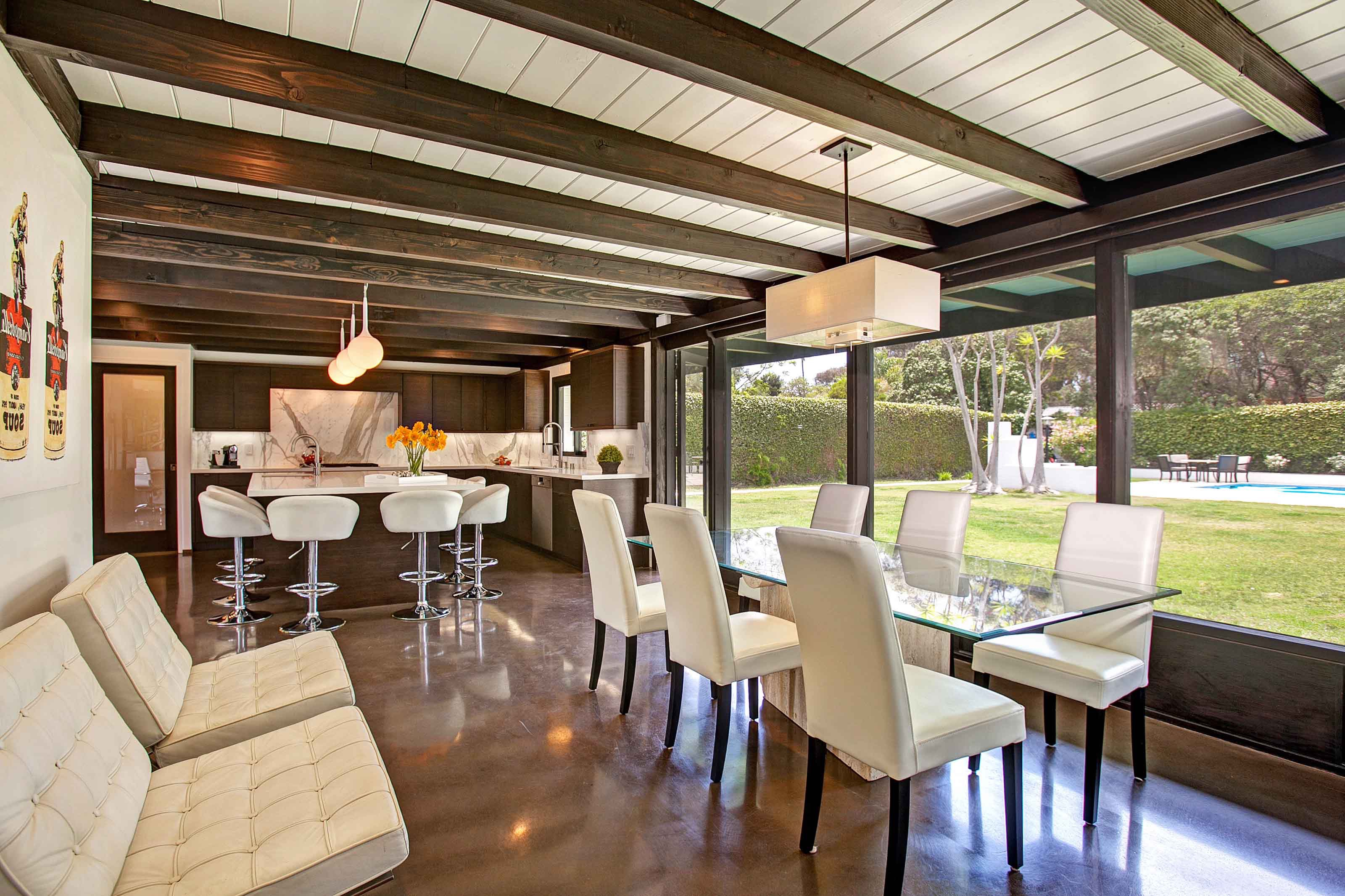 Modern White Paneled Ceiling With Exposed Wood Beams (View 22 of 31)